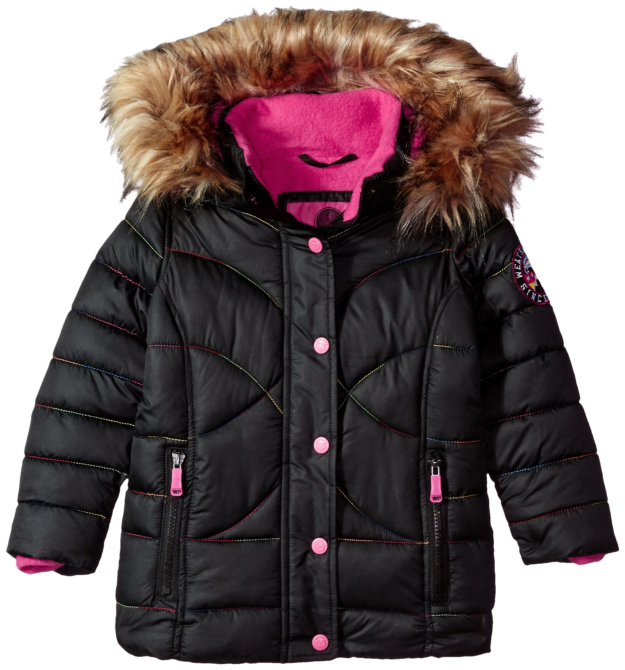Weatherproof Little Girls' Outerwear Jacket (More Styles Available), Rainbow Stitch-WG149-Black, 4