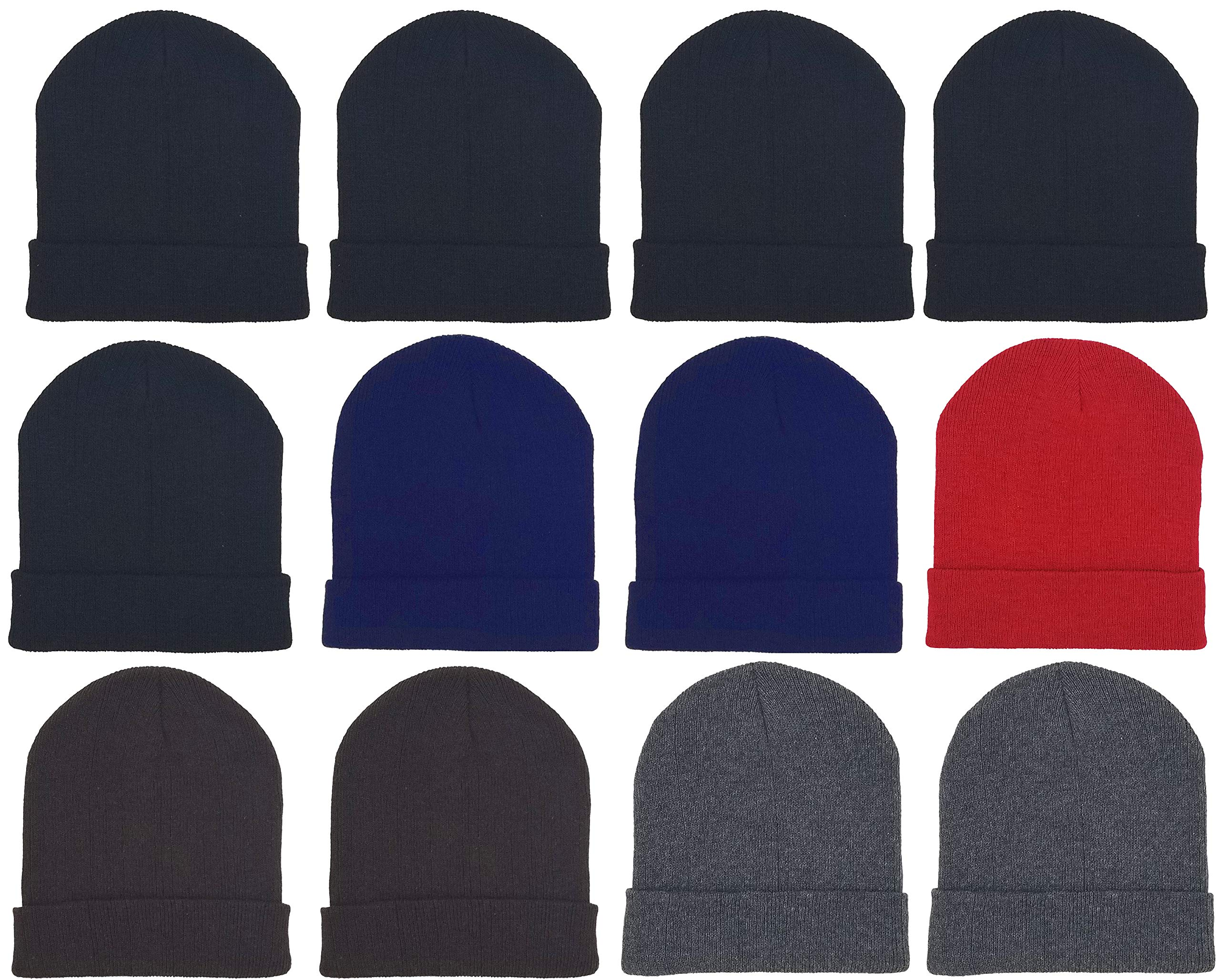 12 Pack Winter Beanies, Unisex, Warm Cold Weather Hats Foldover Cuffed Skull Cap Men and Women (12 Pack Assorted Solids)