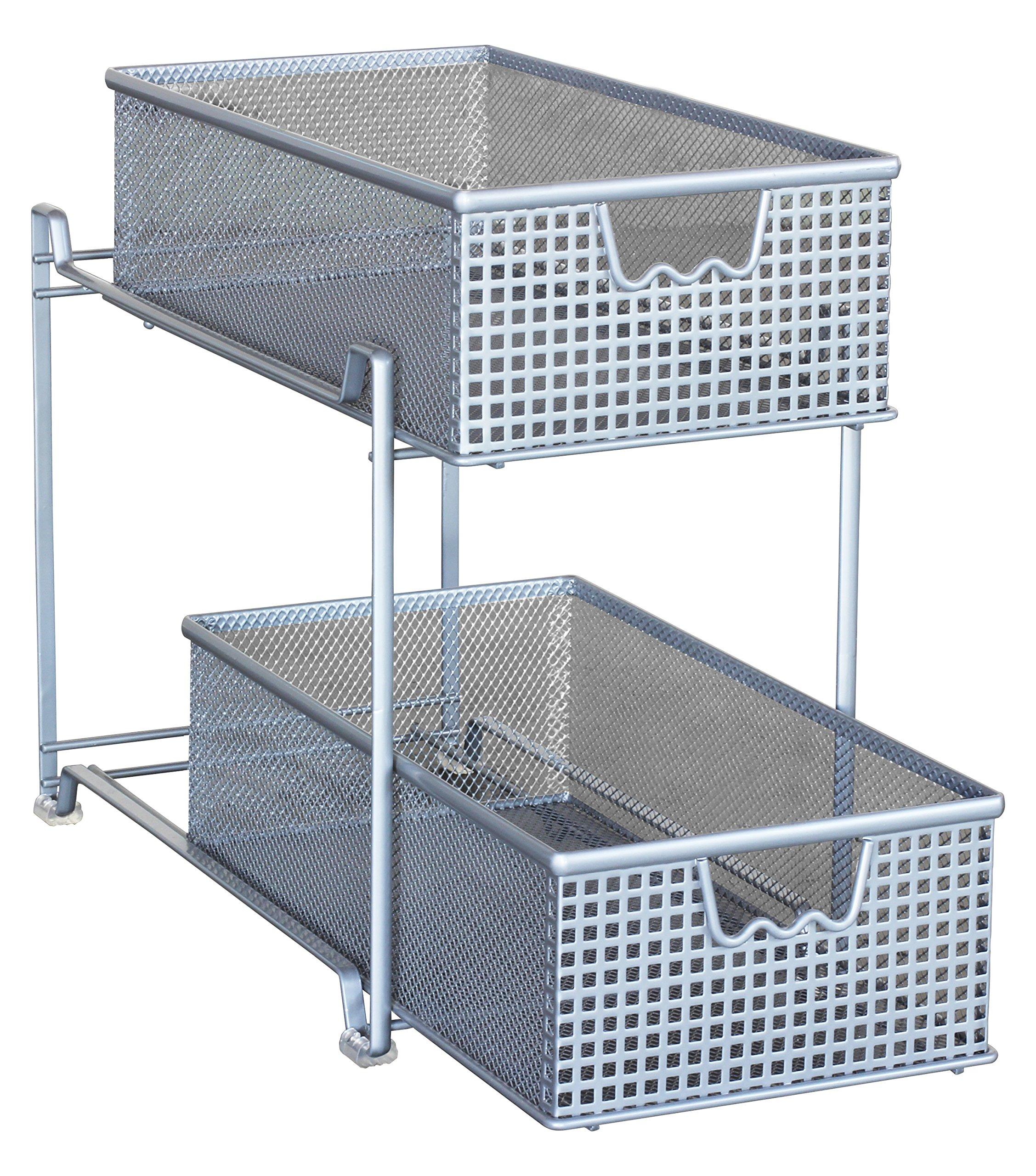 DecoBros 2 Tier Mesh Sliding Cabinet Basket Organizer Drawer,Silver ...