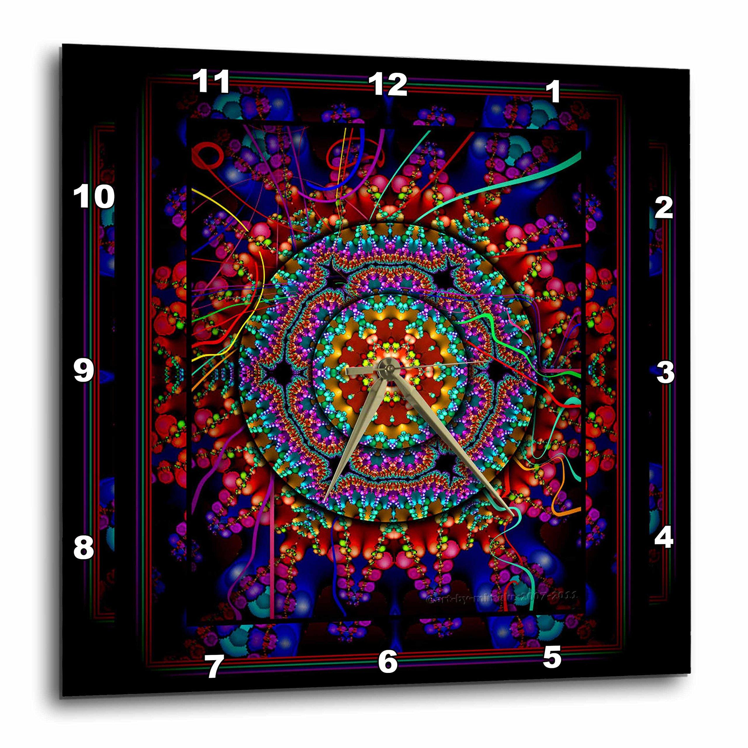 3dRose dpp_24832_2 Mandala 4 Mandala India Buddhism Hinduism Psychedellic New Age Harmony Balance Meditation Wall Clock, 13 x 13