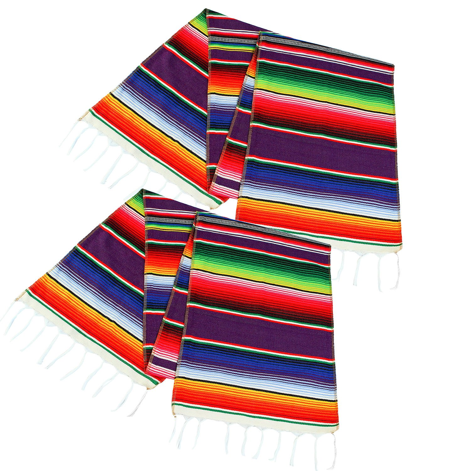 Aneco 2 Pack 14 by 84 Inches Mexican Table Runner Mexican Serape Blanket Cotton Colorful Fringe Table Runners  for Mexican Wedding Party Kitchen Outdoor Decorations