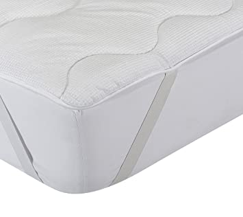 Classic Blanc - Topper, sobrecolchón de fibra hipoalérgénico y termorregulador confort, firmeza media-