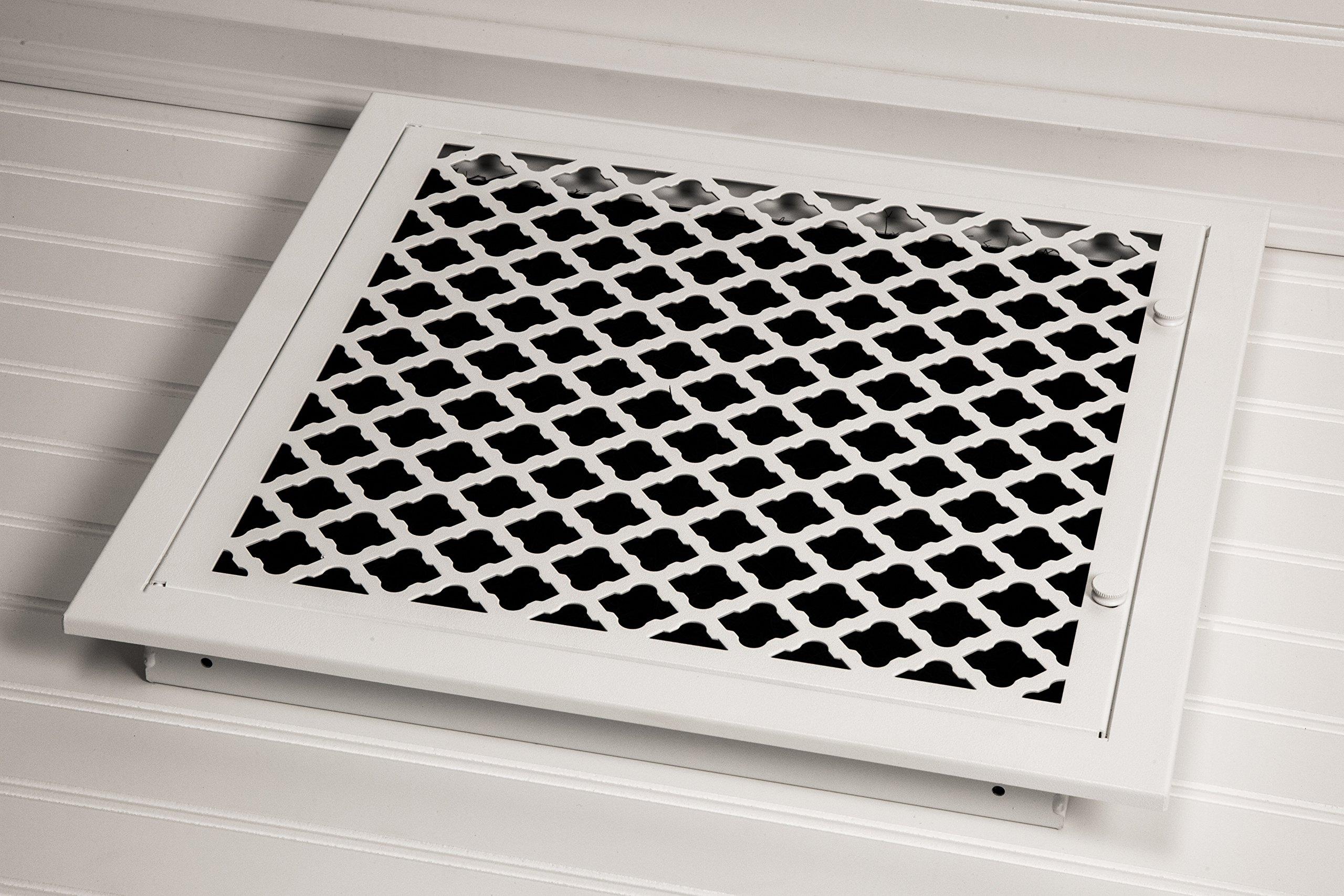 SteelCrest BTU14X14FFWH Bronze Series Designer Filter Return Vent with Hinged Door, White by SteelCrest