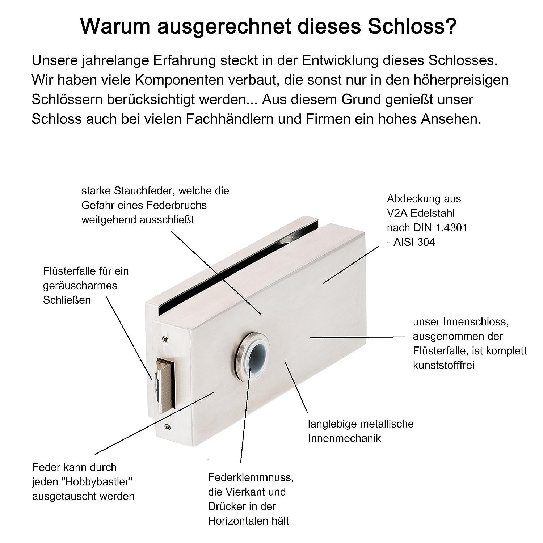 V2A Edelstahl matt metallische Innenmechanik Glast/ürschloss Q UV