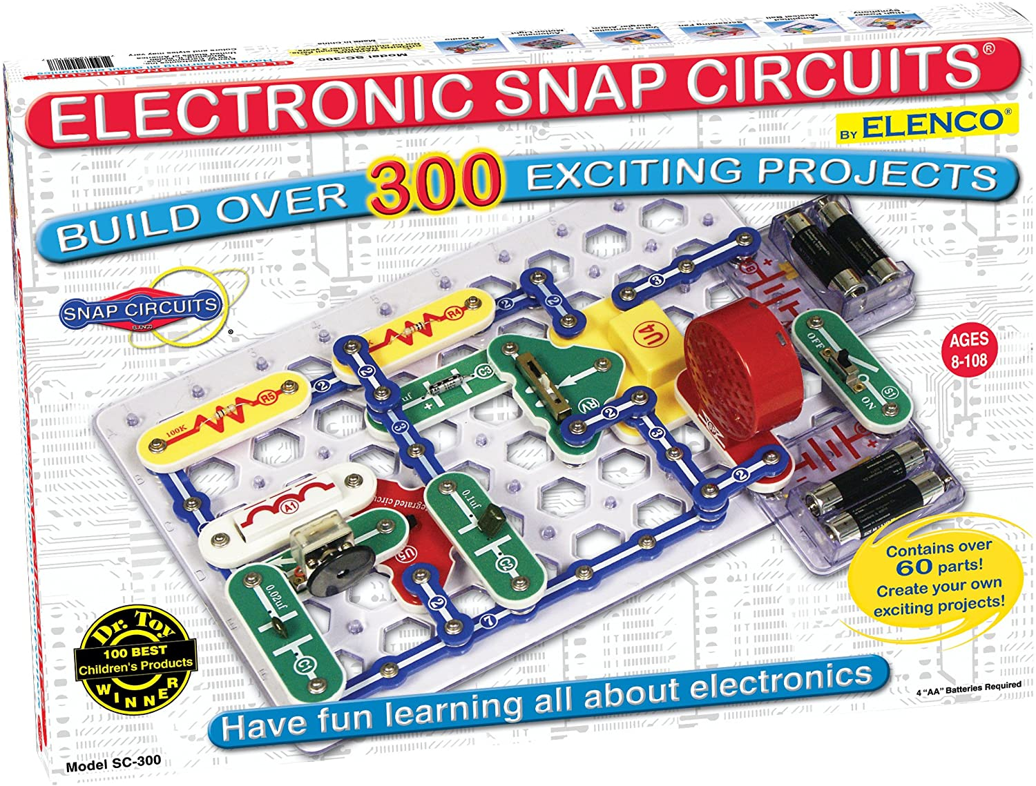Snap Circuits Classic SC-300 Electronics Exploration Kit | Over 300 Projects | Full Color Project Manual | 60+ Snap Circuits Parts | STEM Educational Toy for Kids 8+,Black,2.3 x 13.6 x 19.3 inches: Toys & Games