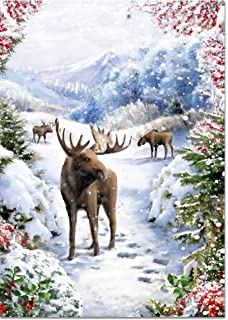 snowy moose large boxed holiday cards christmas cards greeting cards
