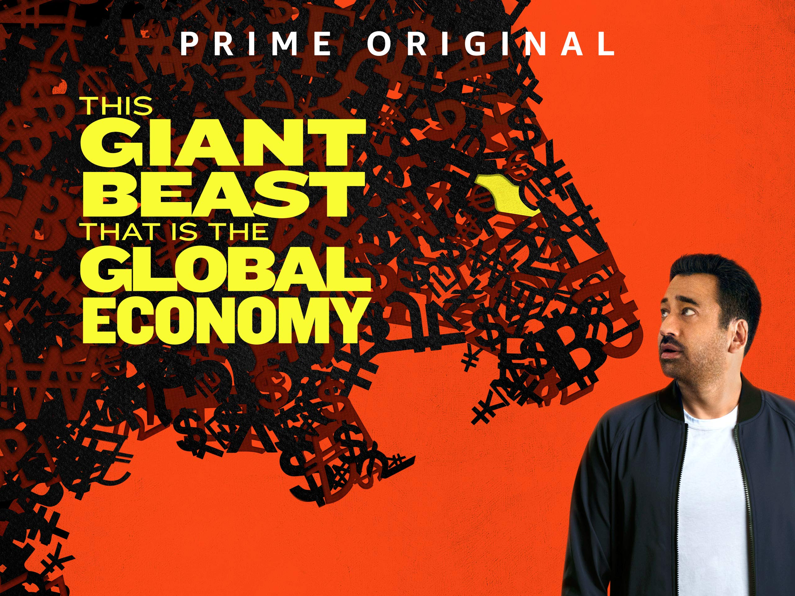 "Kal Penn on red background. Large monster made of economic symbols. Yellow text that reads ""This Giant Beast That Is The Global Economy"""