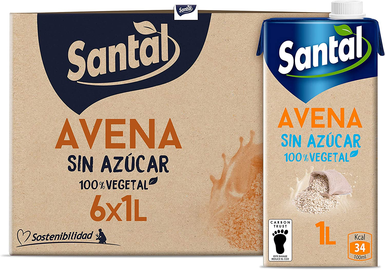 Santal Bebida Vegetal de Avena sin Azúcar - pack 6 x 1Lt: Amazon.es: Alimentación y bebidas
