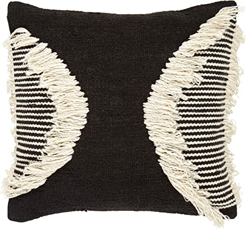 Amazon Brand Rivet Modern Throw Pillow – 18 x 18 Inch, Black White