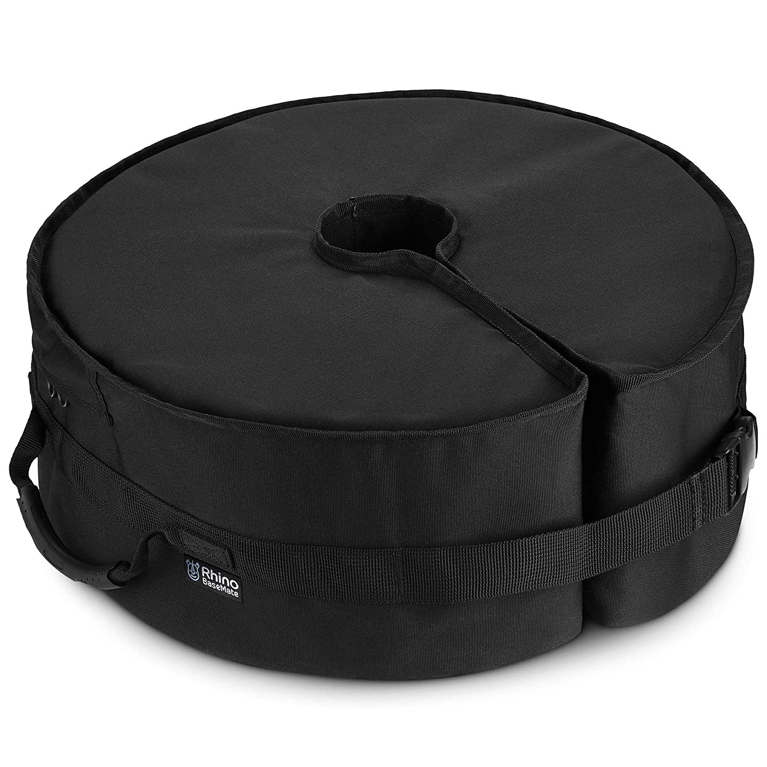 Rhino Round Umbrella Base Weight with Side Slot Opening, 18 Fits Any Offset, Cantilever Any Outdoor Patio Umbrella Stand Easy Set up Black