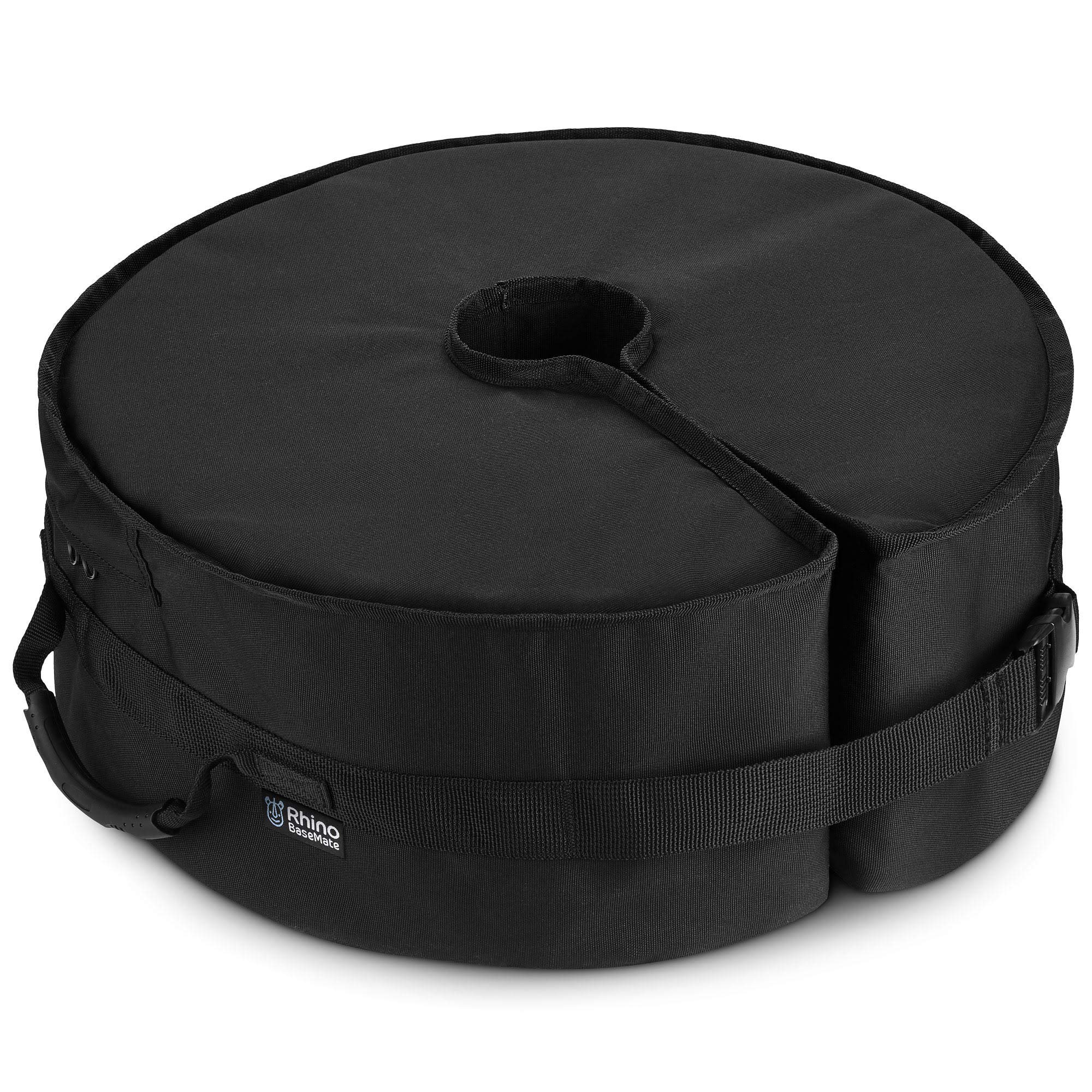 Rhino Round Umbrella Base Weight with Side Slot Opening, 18'' ~ Fits Any Offset, Cantilever & Any Outdoor Patio Umbrella Stand ~ Easy Set up (Black) by Rhino BaseMate