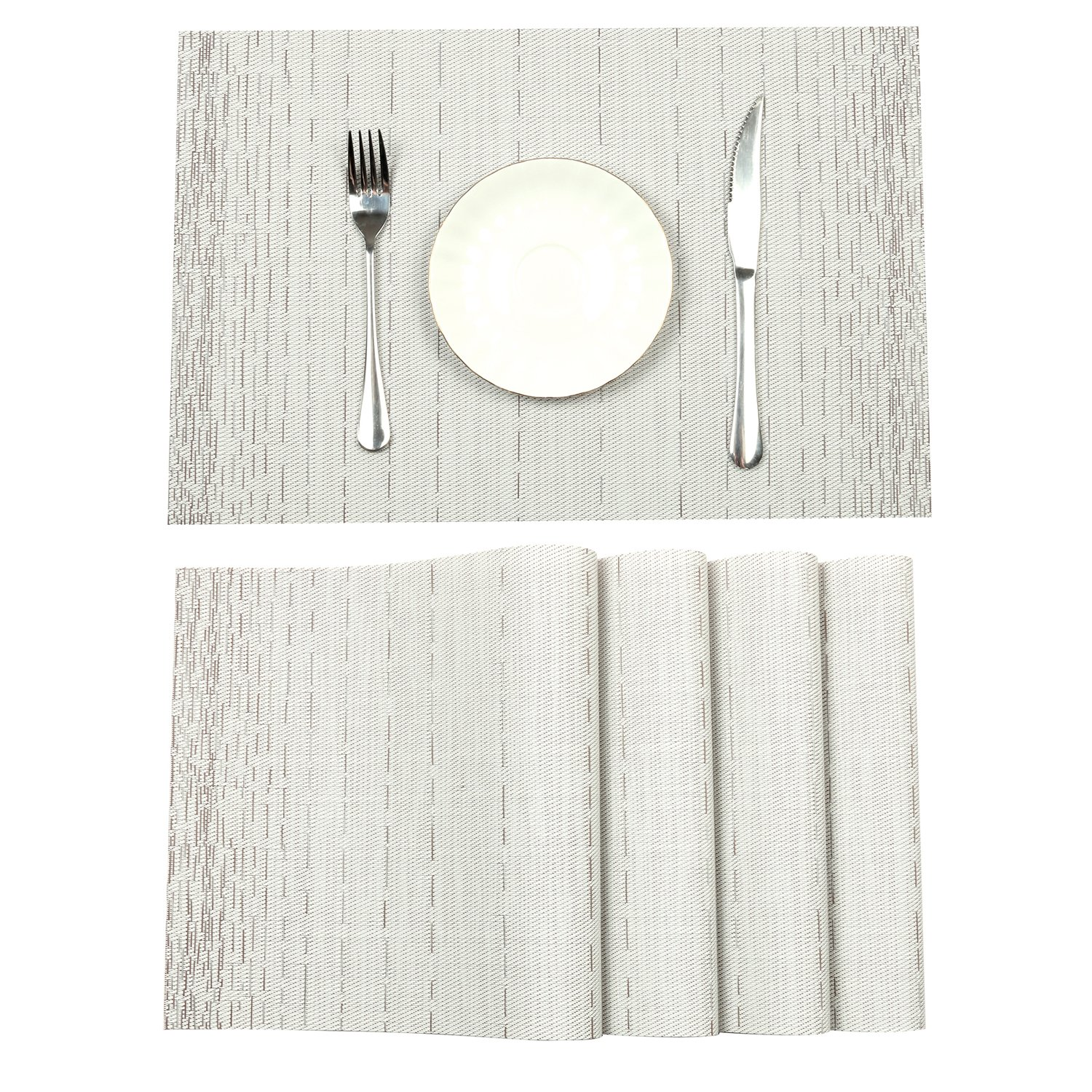 Pauwer Placemats for Dining Table Heat Resistant Stain Resistant Washable PVC Placemats Set of 6 Kitchen Table Place Mats Woven Vinyl Placemats (White, Set of 6)