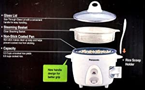 PANASONIC SR-G06FGEW Automatic Rice Cooker/ Steamer (Color: White)