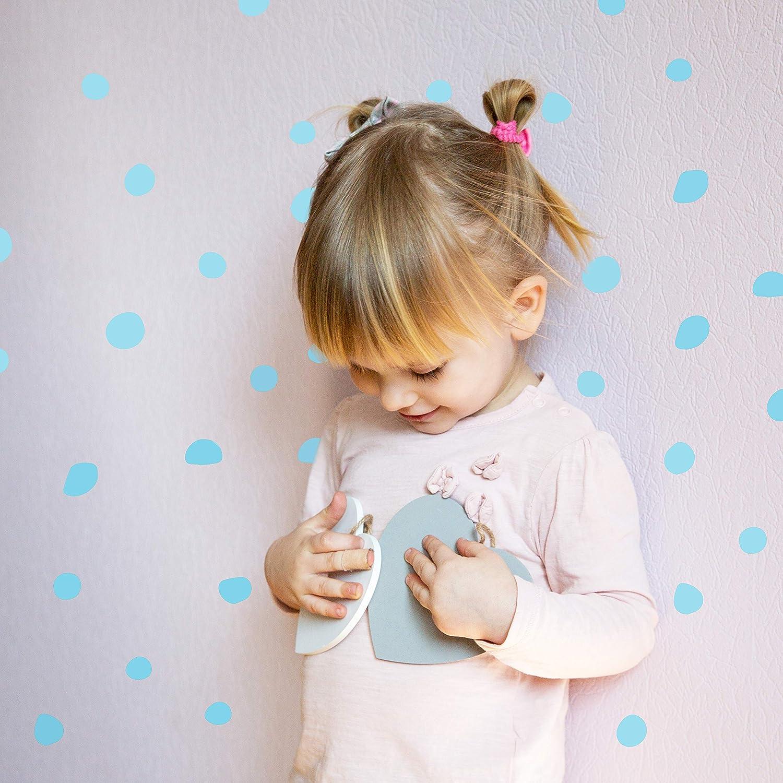 Adhesive Dot Sticker for Kids Pink Baby Nordic Circle Bedroom Decoration. Nursery Circles Decor Wall Vinyl DOTS Decal 40 pcs Original Artist Design Vieli Arte