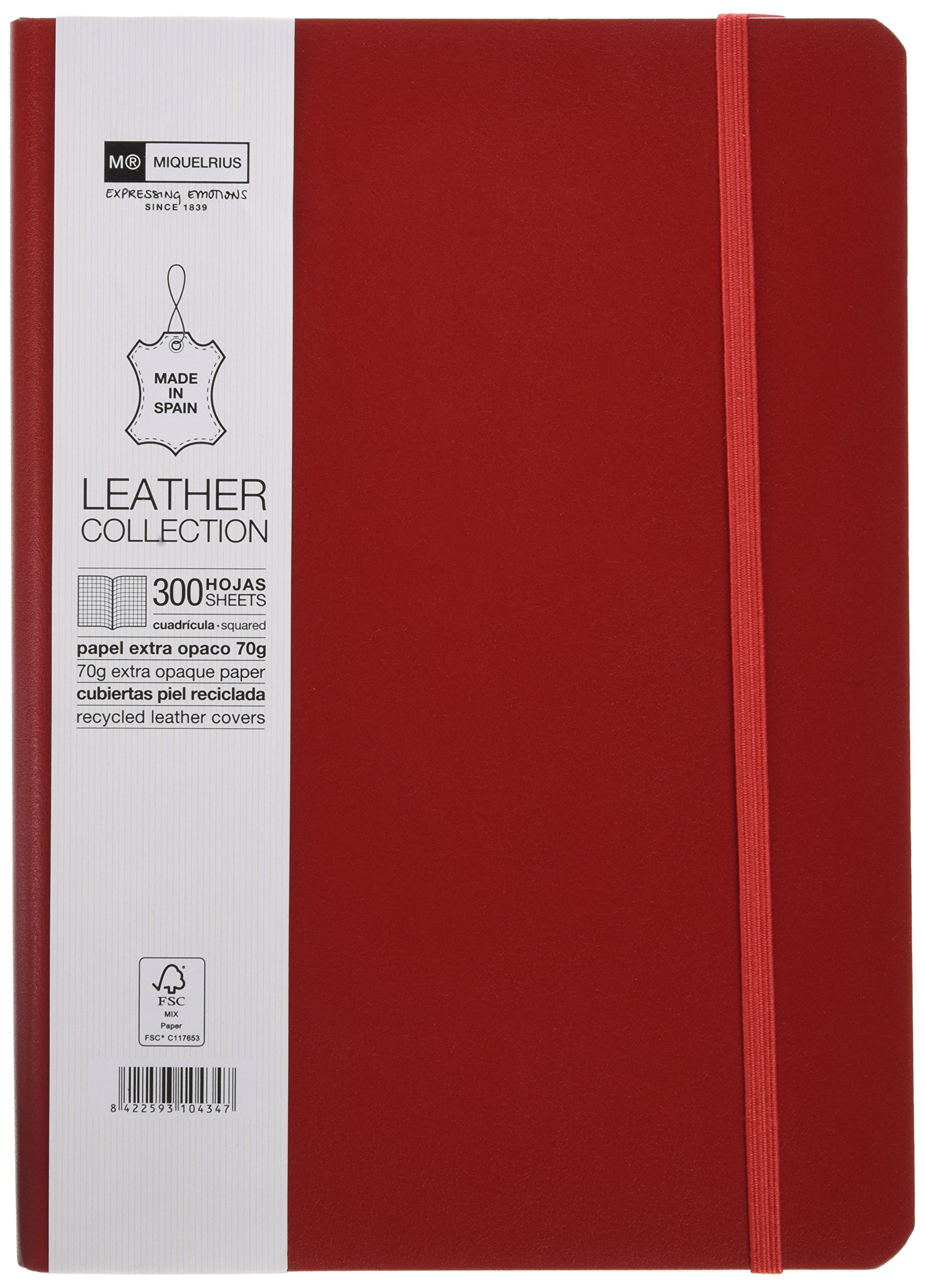 Miquelrius Flexible Handmade Leather Journal, 300 Graph Sheets/600 Pages (6 x 8), (Red)