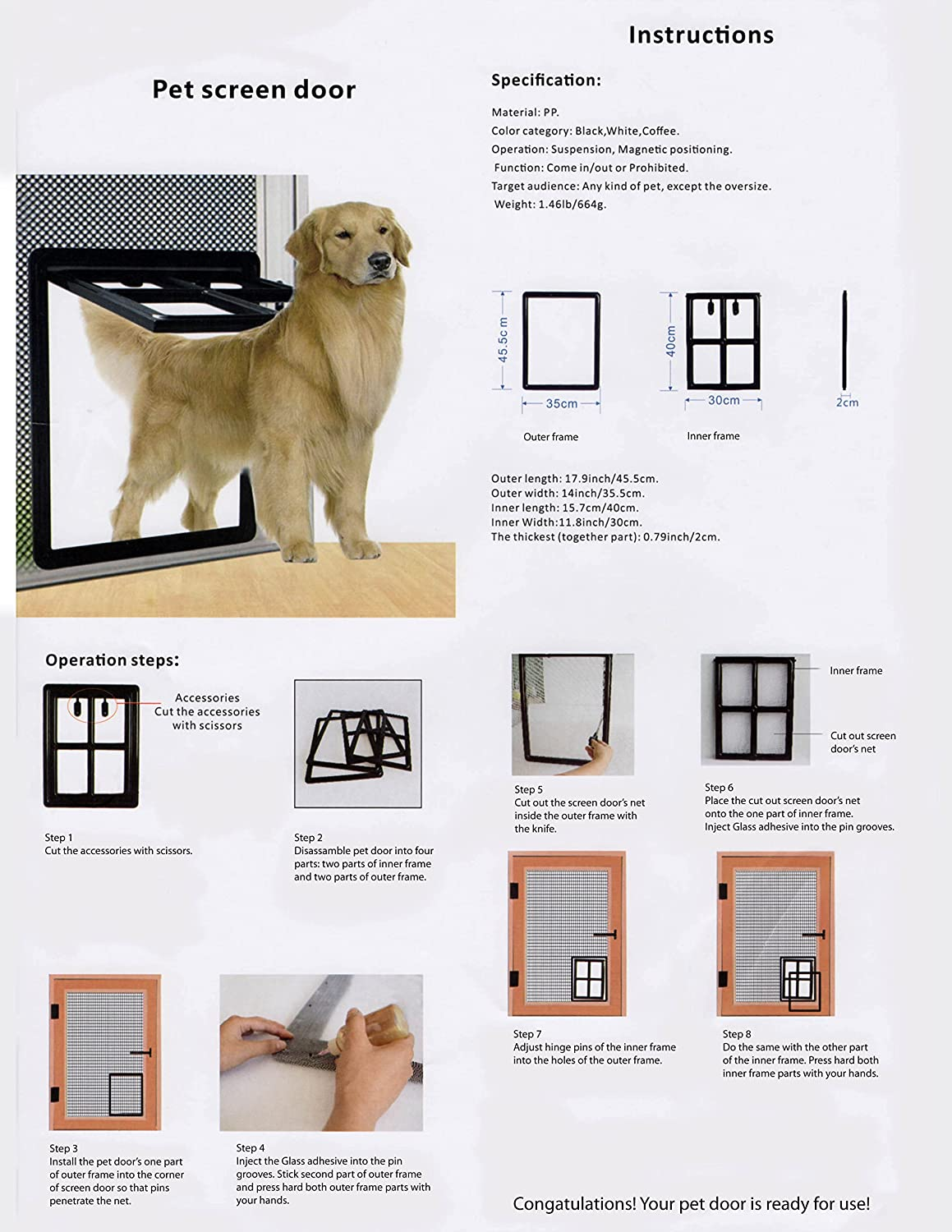 Amazon.com : Pet Dog Door for Screens - Two-Way Self-Locking Screen ...