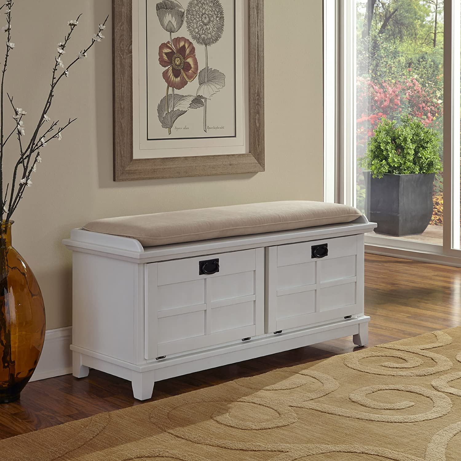 Amazon.com Home Styles Arts and Crafts Upholstered Bench White Kitchen u0026 Dining & Amazon.com: Home Styles Arts and Crafts Upholstered Bench White ...
