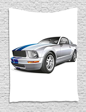 Teen Room Decor Tapestry By Ambesonne, Modern Cool Car Automobile Fancy  Speed Fast Vehicle Illustration