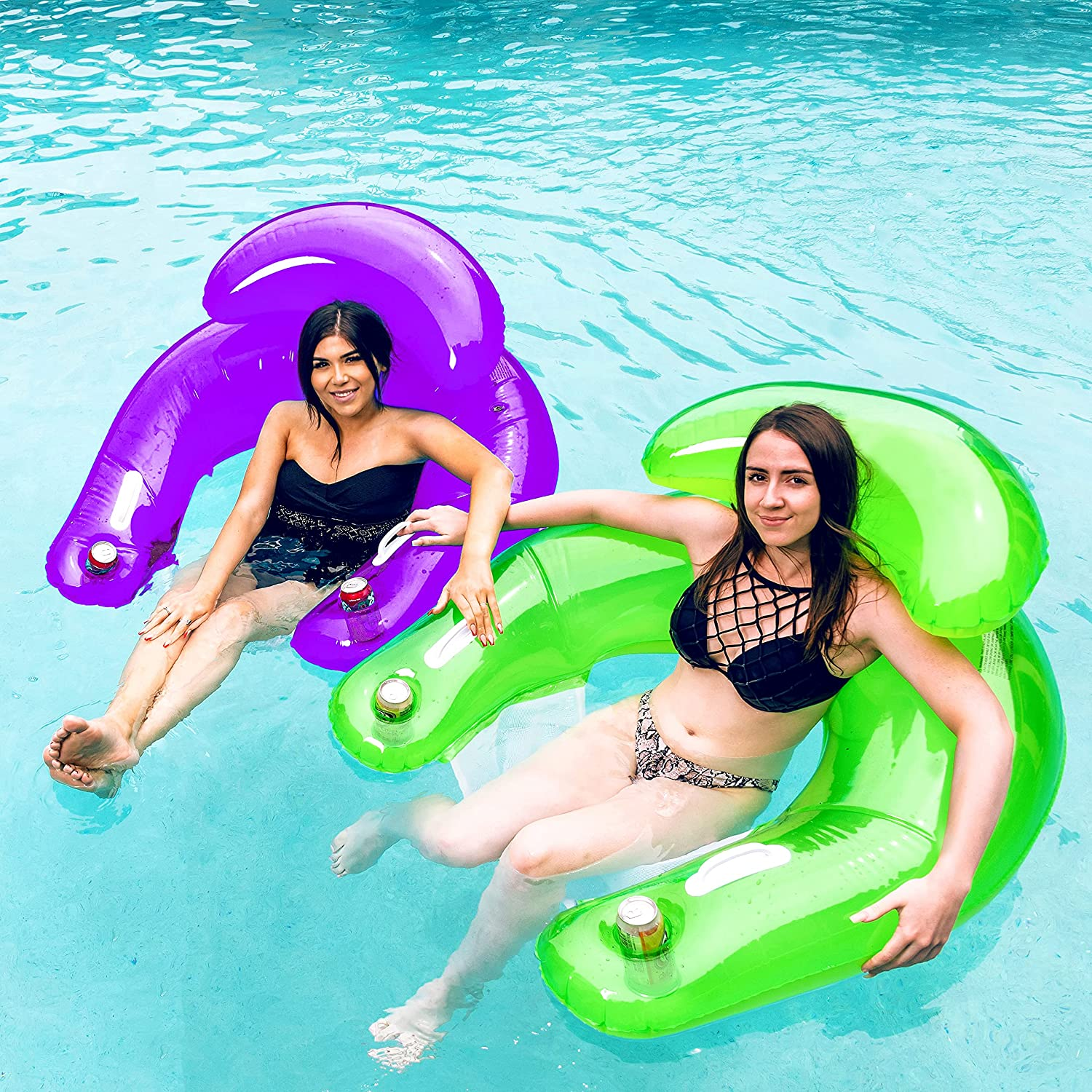 SLOOSH 2 Pack Inflatable Pool Lounger with Built-in Beverage Cup Holders, Handles and Headrest, Pool Floats and Sit N Float Inflatable Pool Chair for Adults Outdoor Beach Pool Party(Green, Purple)