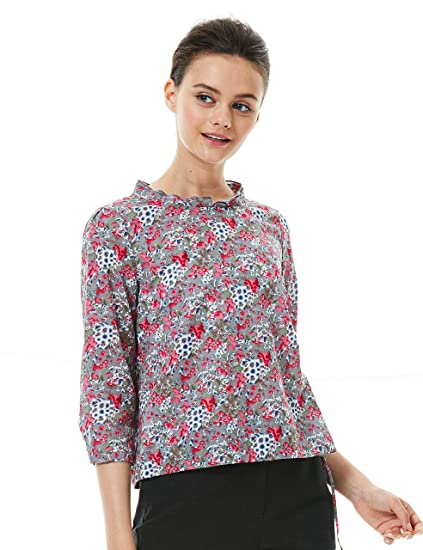 9d648877958 Image Unavailable. Image not available for. Color  TANGY Womens Cotton  Loose Casual Floral Blouse ...