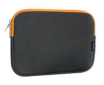 Emartbuy Carpeta Funda Estuche Neopreno De Color Gris Oscuro Y Interior Naranja, 12.5-14.1 Pulgadas, Resistente Al Agua, En Zip Adecuado para Los ...