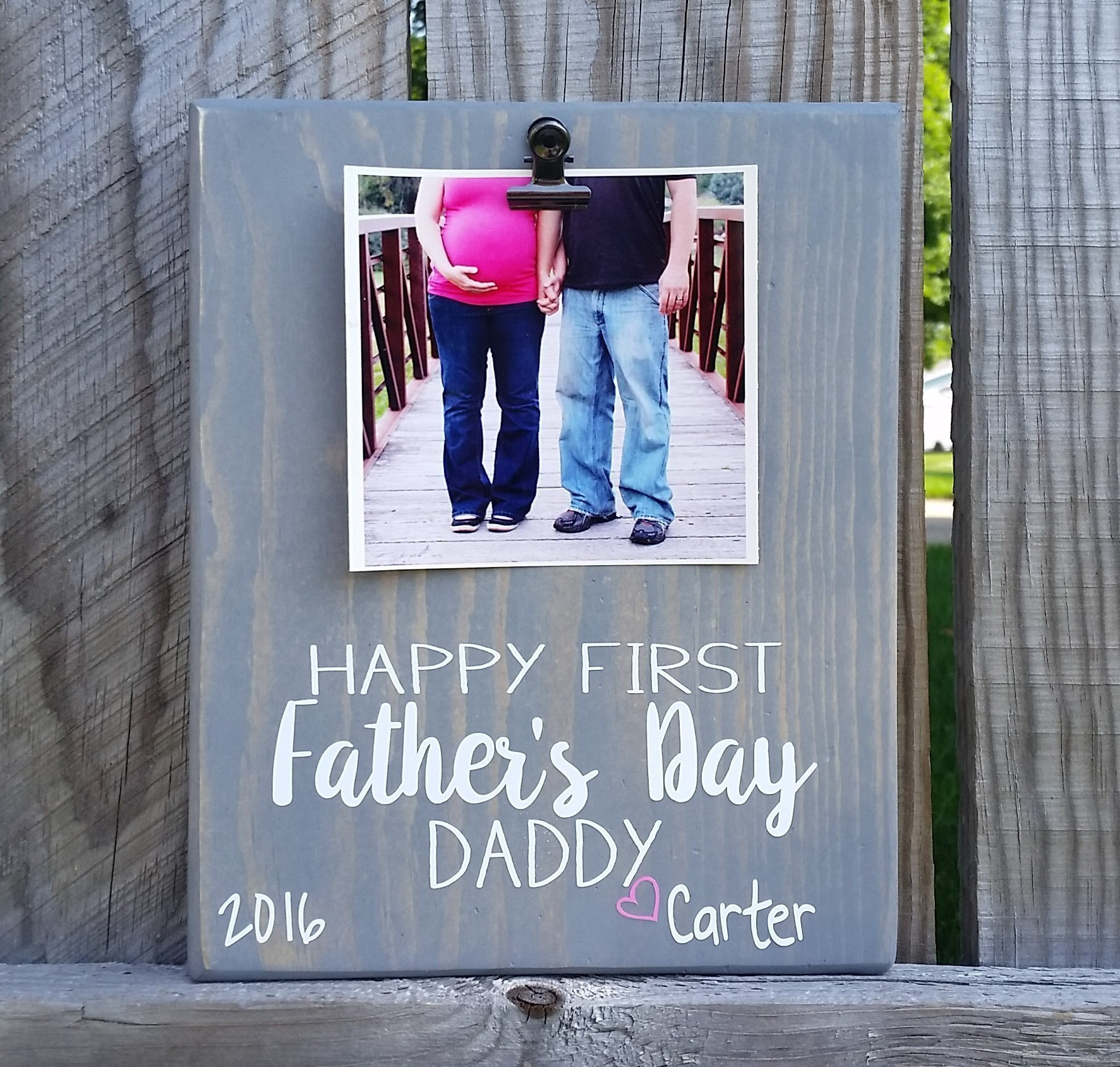 Father's Day Picture Frame gift! Gift for dad, photo board, picture with clip, gift for grandpa, i love you daddy frame, first father's day FFD