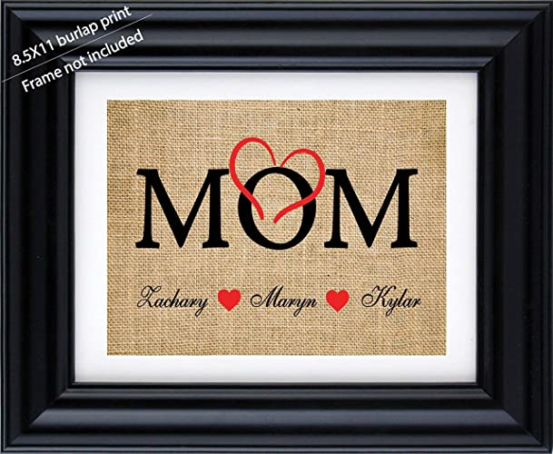 Mom Personalized Burlap Print With The Kids Name Mothers Day Giftgift From Birthday Gift For Gifts 3bFrame