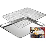 "KITCHENATICS Baking Sheet with Cooling Rack: Half Cookie Pan Tray with Wire and Roasting Rack - 13.1"" x 17.9"", Heavy Duty Commercial Quality"
