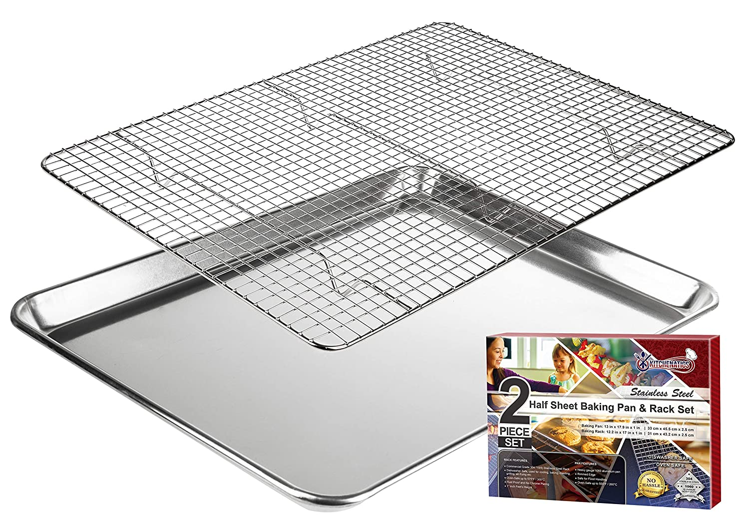 "KITCHENATICS Baking Sheet with Cooling Rack: Half Aluminum Cookie Pan Tray with Stainless Steel Wire and Roasting Rack - 13.1"" x 17.9"", Heavy Duty Commercial Quality"