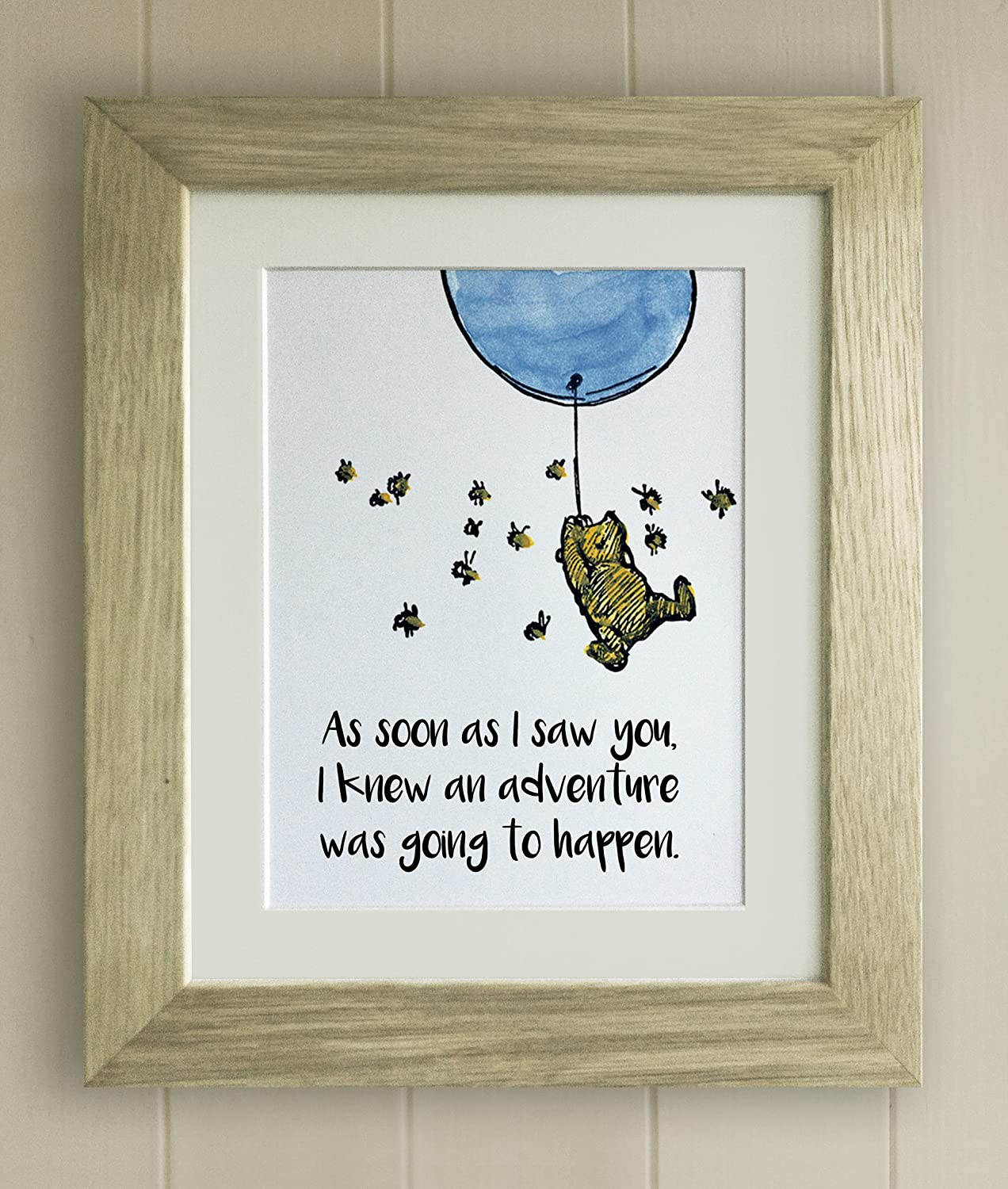PERSONALISED Winnie the Pooh FRAMED QUOTE PRINT Baby//Birth Nursery Picture Bear
