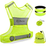 Econetik Reflective Running Vest High Visibility Adjustable Waist & Armbands Safety Gear Perfect for Cycling Jogging Dog Walking Motorcycling Hitchhiking Lightweight for Men Women & Kids