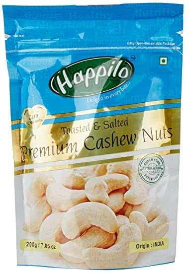 Happilo�Premium Toasted and Salted Cashews, 200g (Pack of 2)