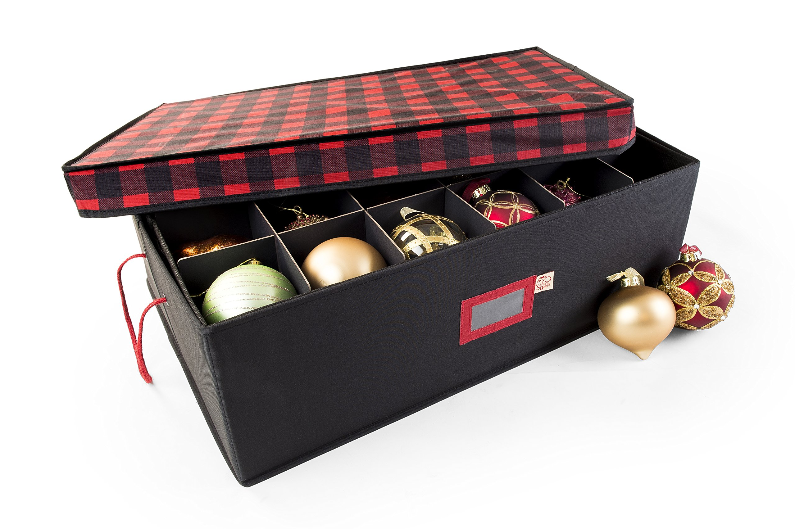 Santa's Bags 2 Tray Ornament Storage Box with Dividers for 4'' Ornaments (Buffalo Plaid)