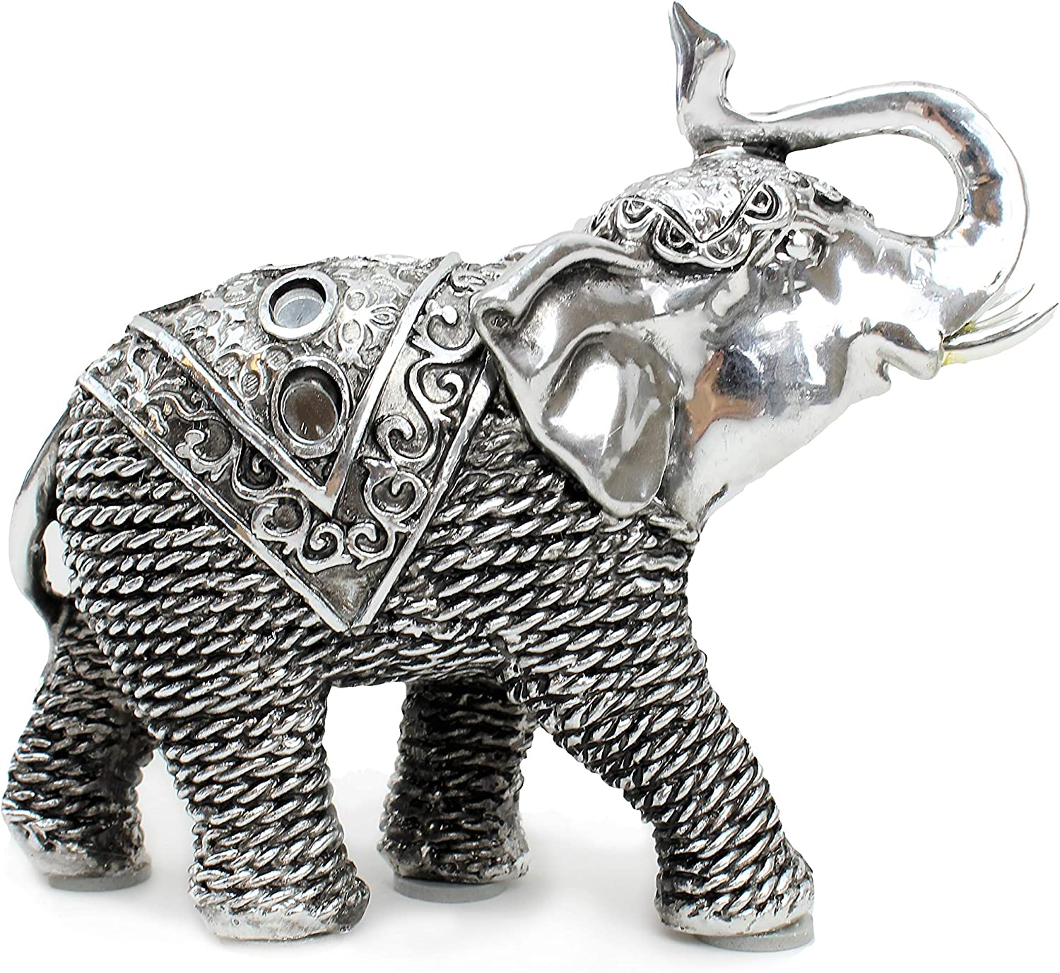 "Feng Shui 5.5""(L) Silver Elephant Wealth Lucky Figurine Home Decor Housewarming Gift Idea (G16653) ~ We Pay Your Sales Tax"