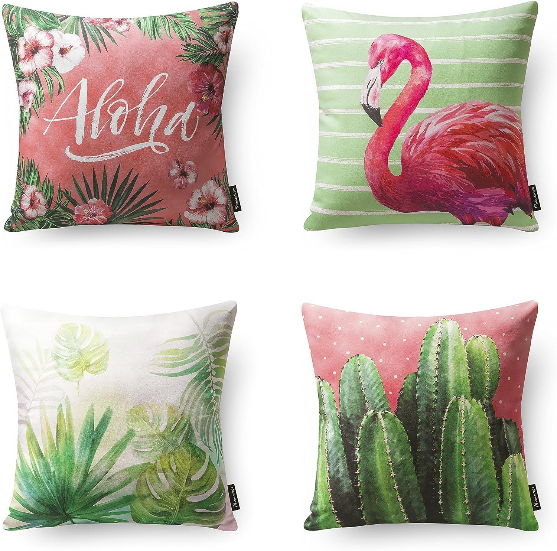 Phantoscope Tropical Series Throw Pillow Cover Pink Flamingo Monstera and Cactus for Home Decor Sofa Car Pack of 4,18 x 18 inches 45 x 45 cm
