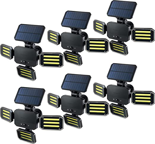 BIONIC FLOODLIGHT 180 Degrees Swiveling Light by Bell+Howell Solar-Powered, Motion-Sensing, Outdoor/in All-Season, 108 High Power LED Bulbs in Adjustable Panels – Remote Control As Seen On TV Set of 6