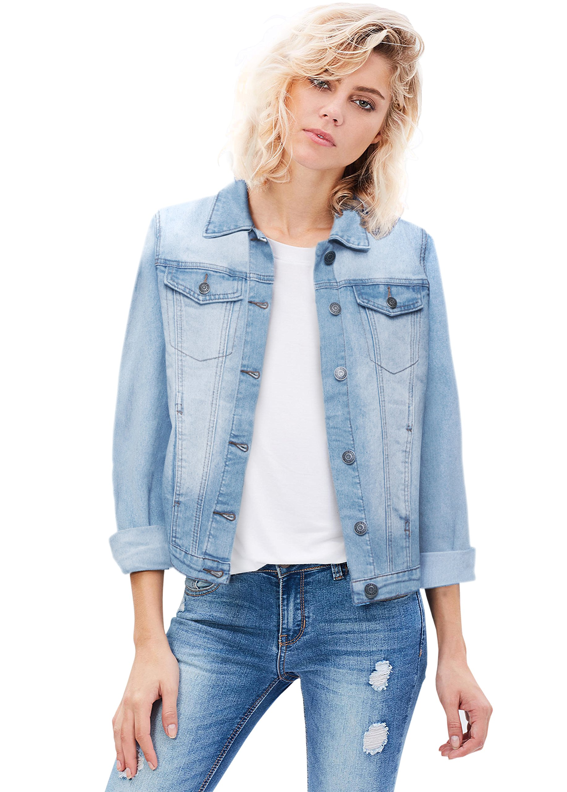 Revolt Women Junior Classic 4 Pockets Denim Jacket JK175590 Light WASH M