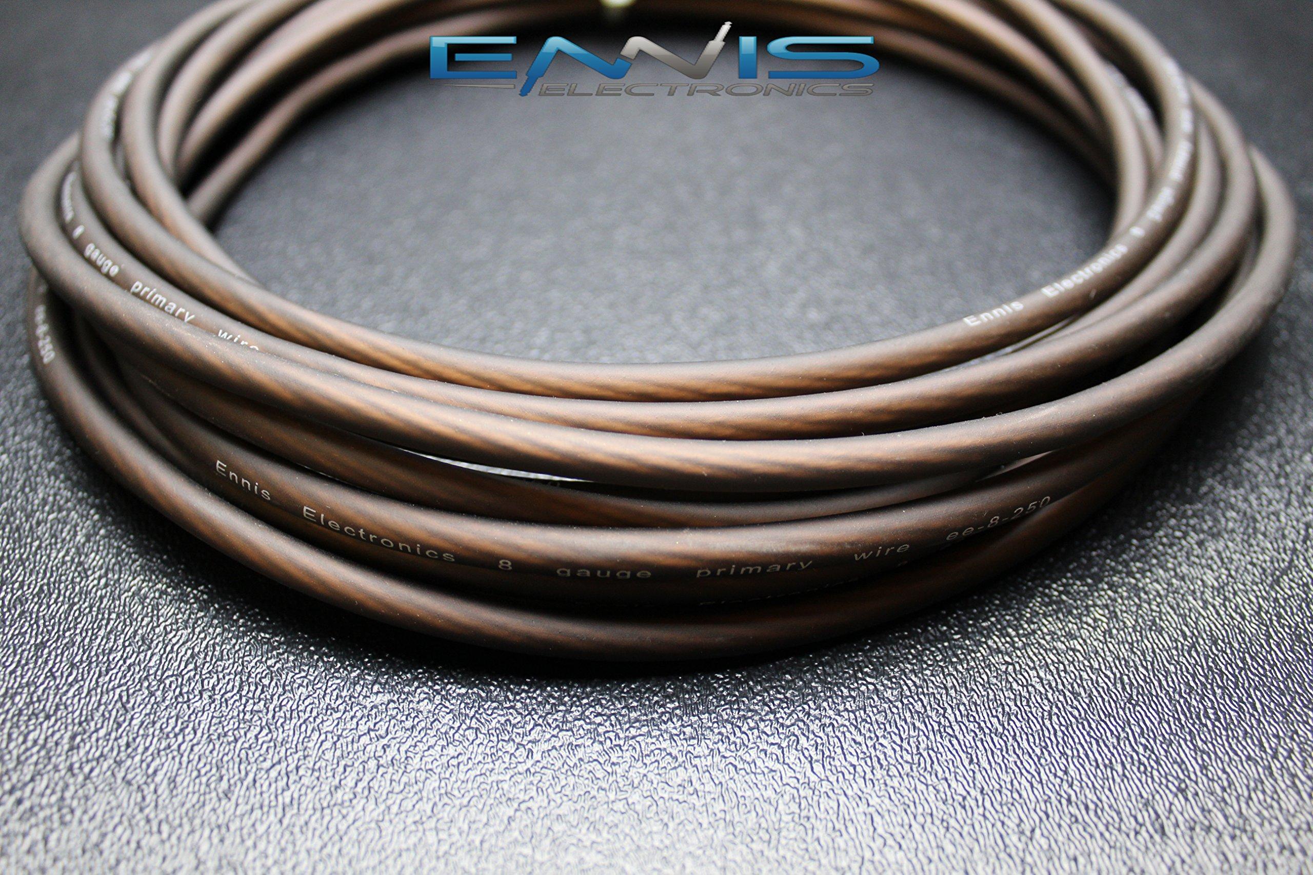 8 GAUGE WIRE 25 FT BLACK AWG MATT CABLE BY ENNIS ELECTRONICS SUPER FLEX POWER GROUND STRANDED CAR SOLAR AUTOMOTIVE