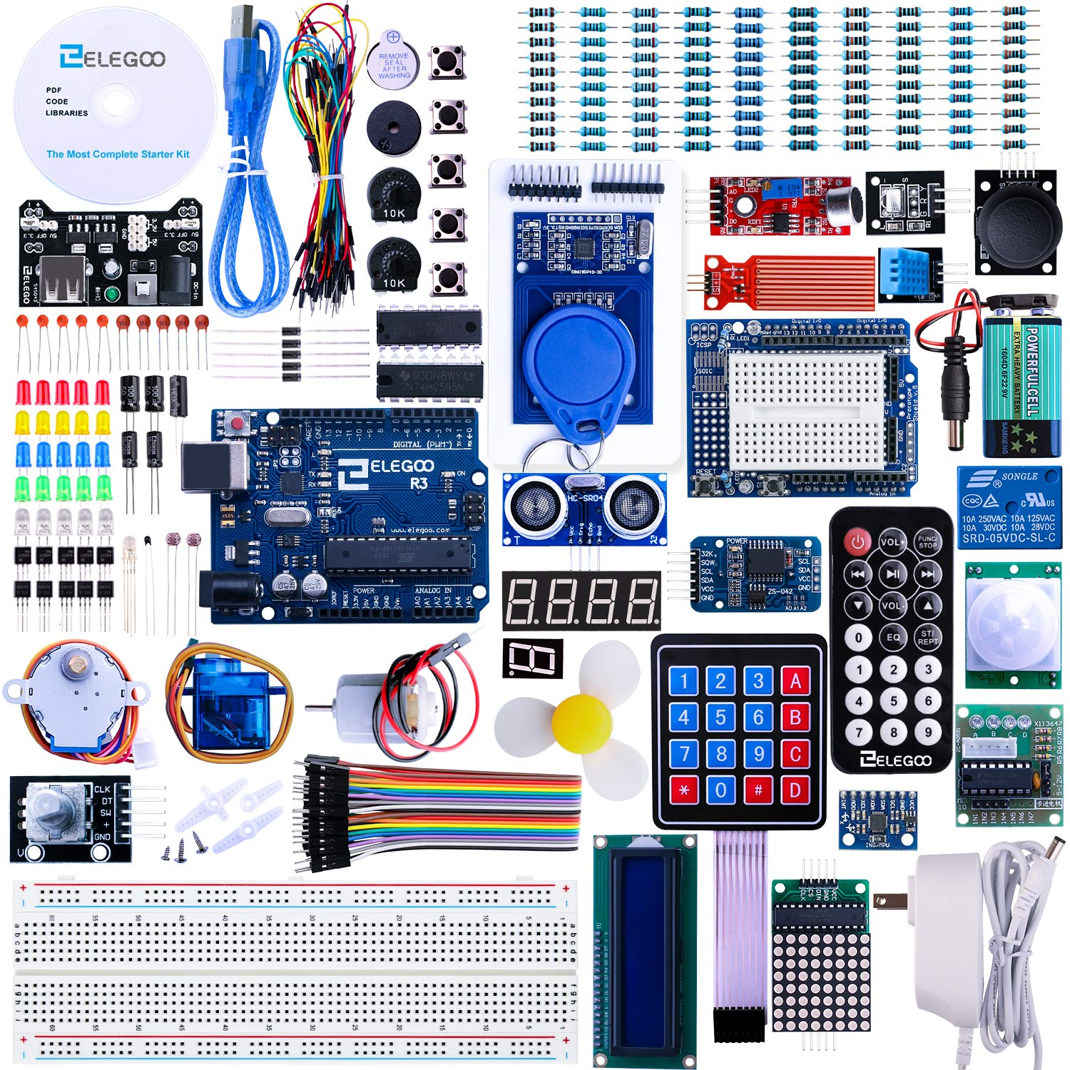 ELEGOO UNO R3 Project Most Complete Starter Kit wTutorial Compatible with Arduino IDE 63 Items
