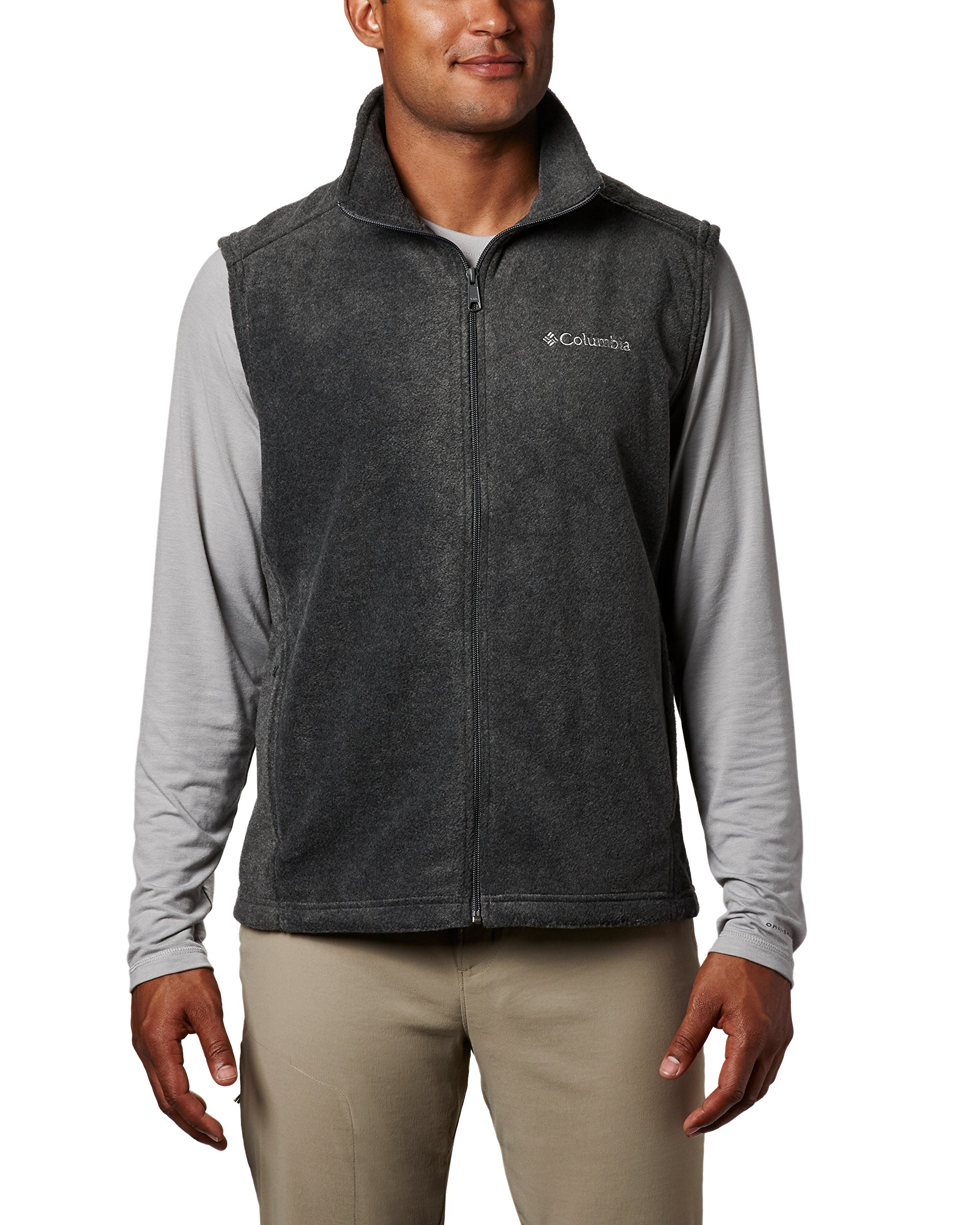 Columbia Men's Steens Mountain Full Zip Soft Fleece Vest, Charcoal Heather, Medium