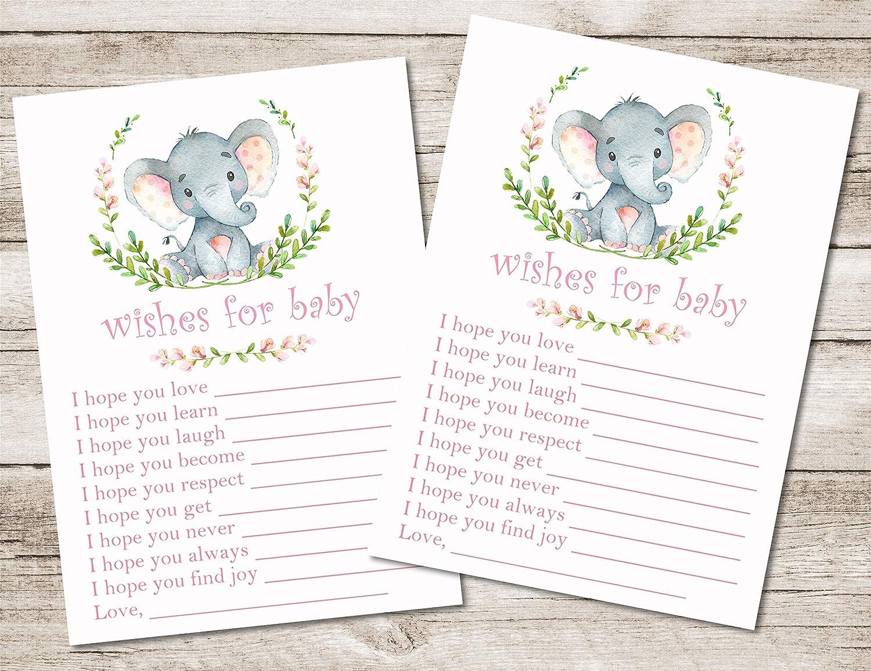 Girls Pink Elephant Baby Shower Wish Cards Girls Pink Elephant Baby Shower Supplies Girls Safari Elephant Baby Shower Decor Set of 20 Cards