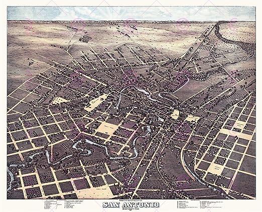 MAP ANTIQUE 1873 KOCH SAN ANTONIO TEXAS AERIAL VIEW REPLICA POSTER PRINT PAM1926