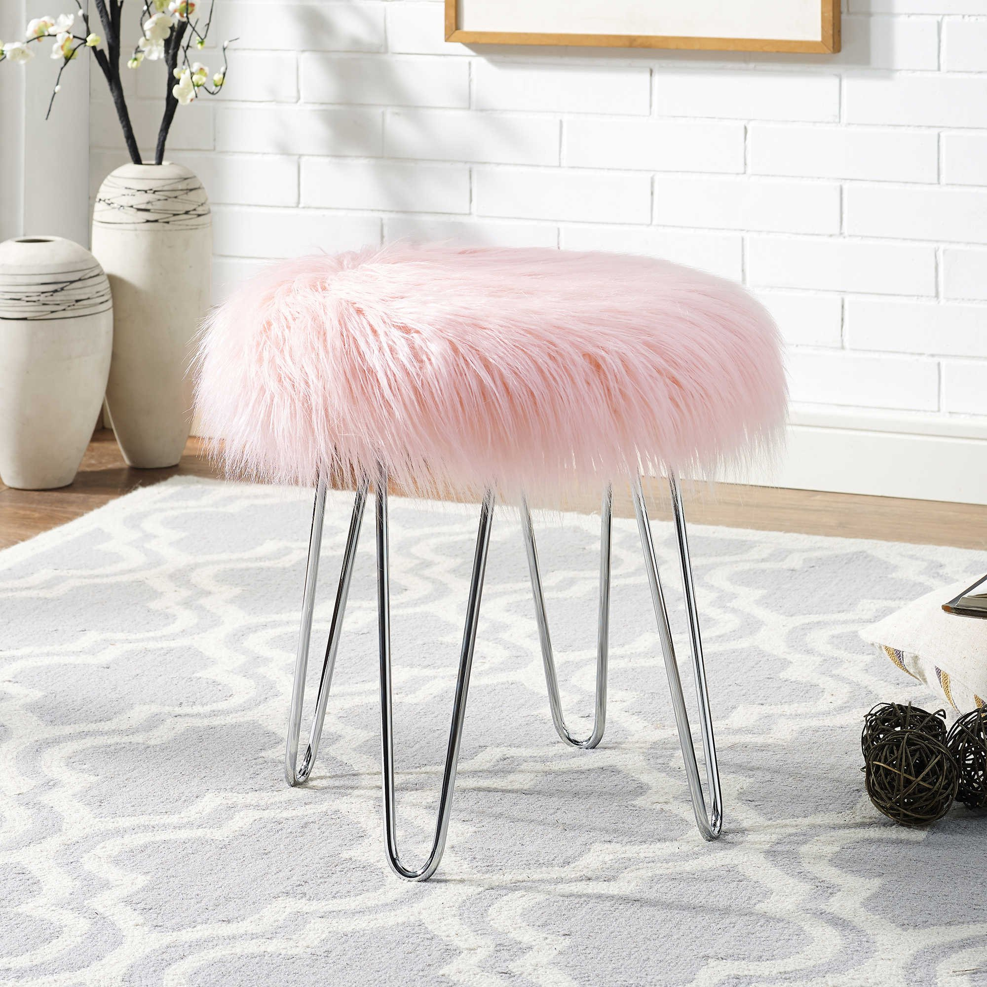 Faux Fur Stool Bench Chair Blush Vanity Seat Ottoman Fabric Cover ...