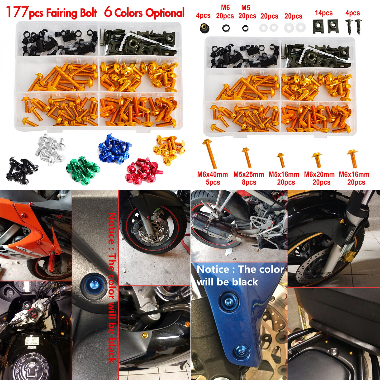 NICECNC Gold Aluminum Windscreen Fairing Bolts Kit Fastener Clips Screws for Motorcycle Sportbike Honda,Yamaha,Kawasaki Suzuki,Aprilia MV Agusta Triumph