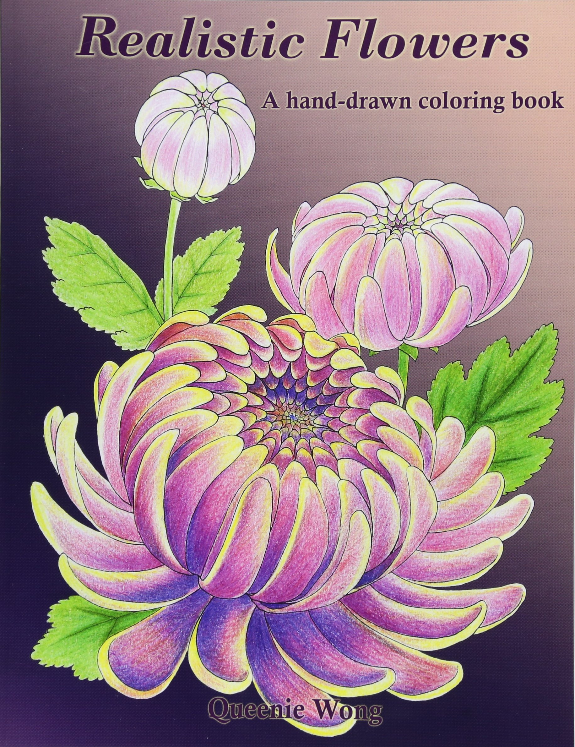 Realistic Flowers hand drawn coloring book product image