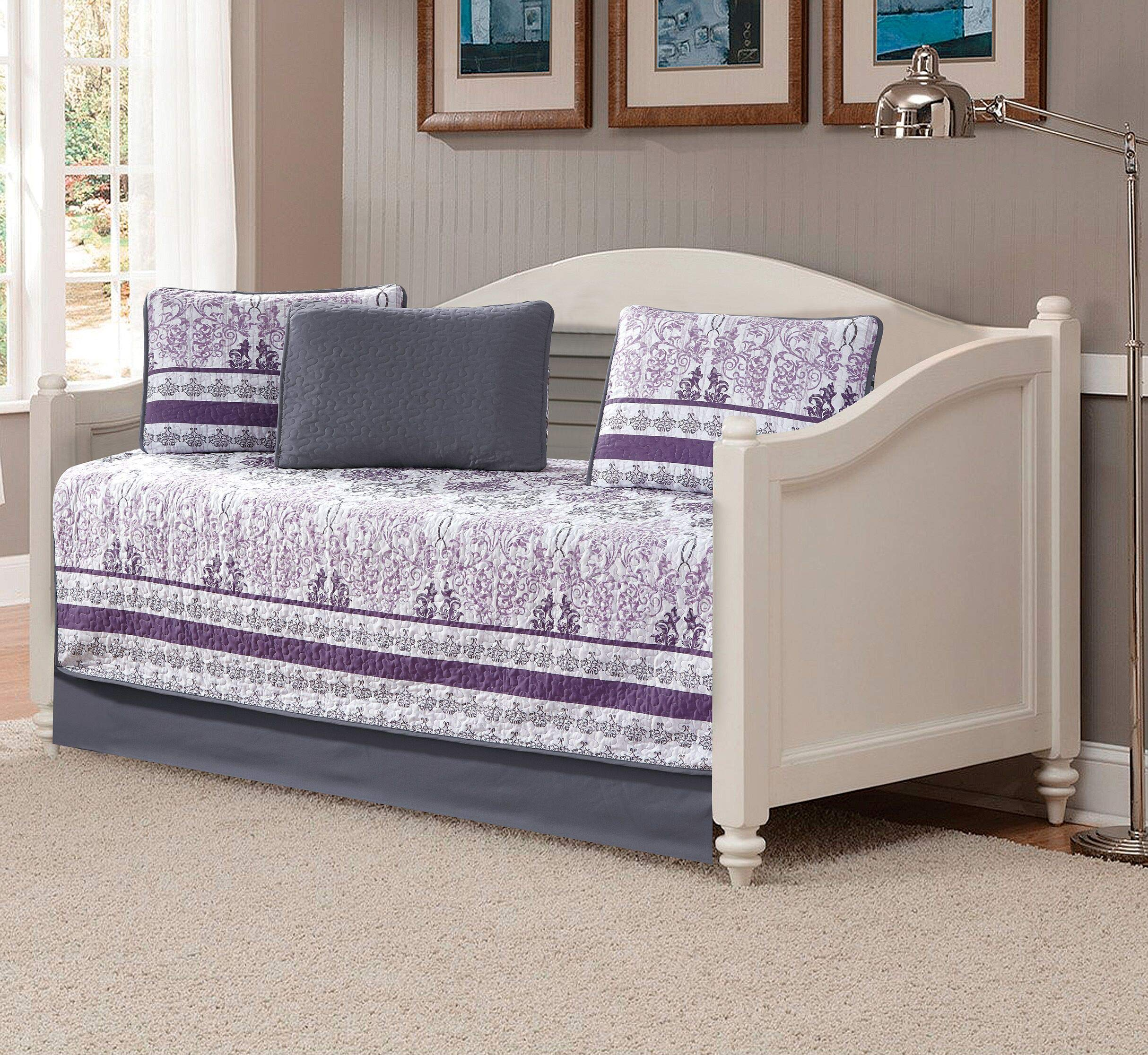 Kids Zone Home Linen 5 Piece Daybed Quilted Bedspread Set Damask Printed Pattern Lavender Purple White Grey by Kids Zone Home Linen