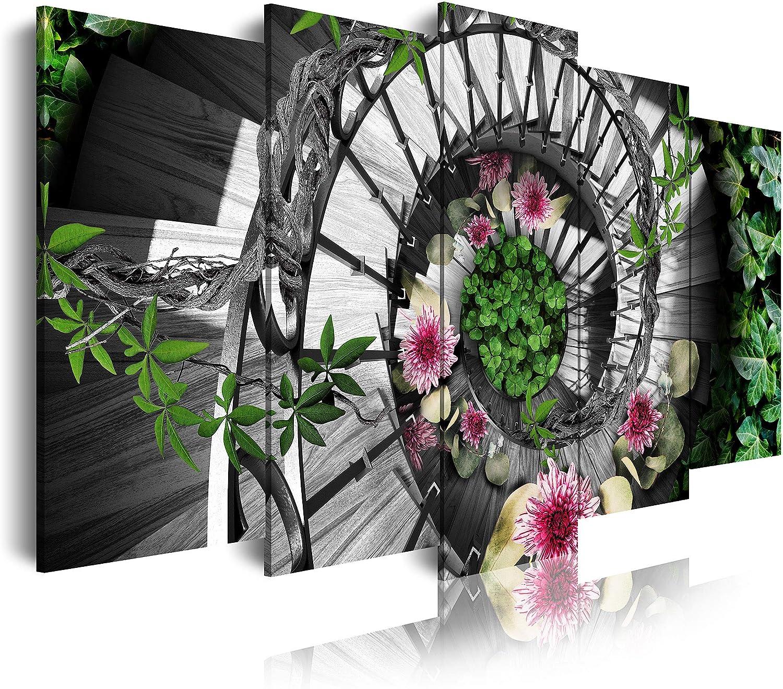 DekoArte - Cuadros Modernos Impresión de Imagen Artística Digitalizada | Lienzo Decorativo Para Tu Salón o Dormitorio | Estilo Naturaleza Escalera Madera Caracol Flores Colores | 5 Piezas 150 x 80 cm: Amazon.es: Hogar