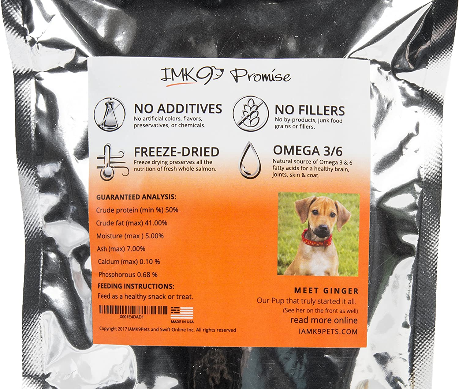 All Natural Freeze Dried Salmon Dog Treats – With Omega 3 and Omega 6 Fish Oil – By IM K9 – 100% Pure Fish With Skin – Gluten Free, Grain Free, No Soy – Made in the USA