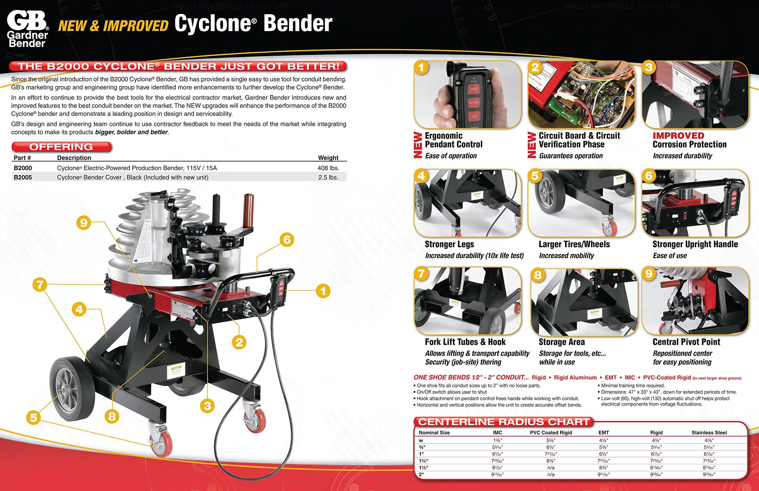 Gardner Bender B2000 Cyclone Electric Powered Bender, ½ - 2 in. EMT, Rigid, Rigid Aluminum & IMC Conduit, & ½ - 1½ in. PVC-Coated Conduit, No Shoe Group, Red & Black by Gardner Bender (Image #7)