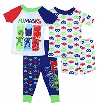 3de00cc0d Amazon.com  Boys 4 Piece Mix and Match Character Pajama Set  Clothing